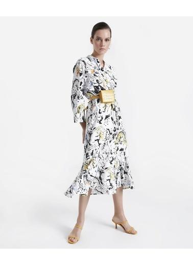 Ipekyol Desenli Gömlek Form Midi Elbise Ekru
